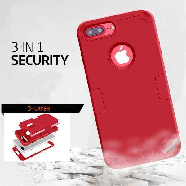 Petocase iPhone 8 Plus Case, Heavy Duty Slim Shockproof Drop Protection 3 in 1 Hybrid Hard PC Covers Soft Rubber Bumper Protective Case for iPhone 8 Plus / 7 Plus - Red
