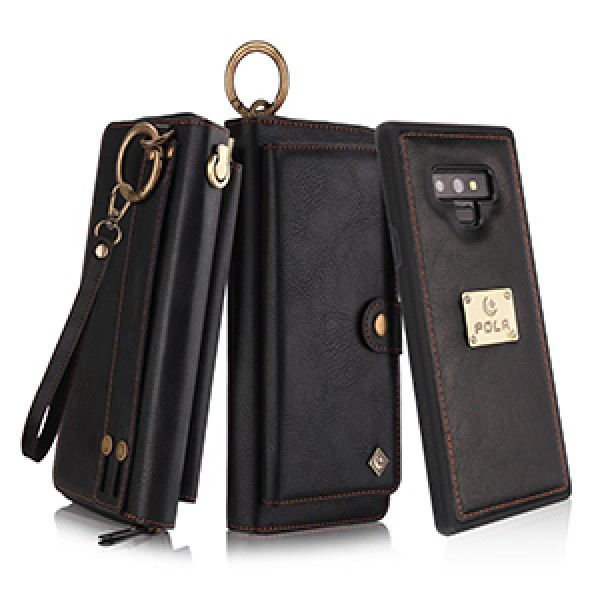 Petocase Wallet Case for Note 9, Multi-Function Zipper Purse with Detachable Magnetic Back Cover Wristlets 13 Card Slots & 4 Cash Pocket for Samsung Galaxy Note 9 -Black